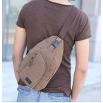 กระเป๋าสะพายใบเท่ห์ ขนาดกำลังดี สำหรับสุภาพบุรุษทั้งหลาย มีให้เลือก 5 สี 2 ขนาด - น้ำตาล ใหญ่