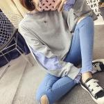 เสื้อกันหนาวแฟชั่น ดีไซน์แบบใส่ทับ 2 ตัว สวยเก๋ แบบสาวยุคใหม่ - เทา