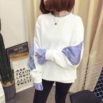 เสื้อกันหนาวแฟชั่น ดีไซน์แบบใส่ทับ 2 ตัว สวยเก๋ แบบสาวยุคใหม่ - ขาว