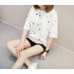 เสื้อยืดแฟชั่น สกรีนลายน่ารัก ดูสดใส ชวนมอง - ขาว
