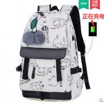 กระเป๋าเป้แฟชั่น ลายสวย มีช่องต่อ usb ที่กำลังฮิตในขณะนี้ - ชุด 1 ใบ + USB