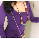 เสื้อยืดแฟชั่นเกาหลี R023 - Purple