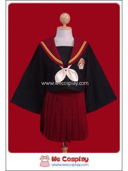 ชุดนักเรียนญี่ปุ่นธีมบ้านกริฟฟินดอร์แขนพ่อมด ปกกะลาสี/กระโปรงสีแดง พร้อมถุงเท้าระดับเข่าสีดำ