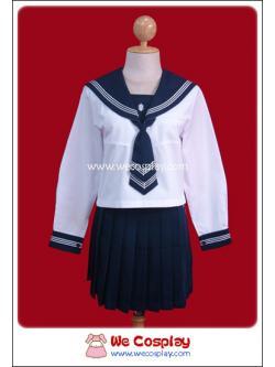 ชุดนักเรียนญี่ปุ่นแขนยาวสีขาว ปกกะลาสี/กระโปรงสีกรมท่า ผูกไทด์ พร้อมถุงเท้าระดับเข่าสีดำ