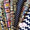 Set 6 ชิ้น : ผ้าคอตตอนไทย 6 ลาย โทนสีน้ำเงินกรมท่า ชิ้นละ1/8 ม.(50x27.5ซม.)