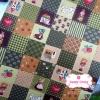 ผ้าคอตตอนไทย 100% 1/4 ม.(50x55ซม.) ลายตารางน้องซู โทนสีเขียว
