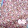ผ้าคอตตอน 100% 1/4 ม.(50x55ซม.) ลายดอกไม้เล็กๆ โทนสีชมพูอ่อน