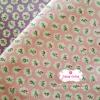 ผ้าคอตตอนไทย 100% 1/4 ม.(50x55ซม.) พื้นสีชมพู ลายดอกไม้เล็ก