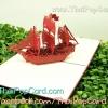 การ์ดป๊อปอัพ เรือสำเภาสีแดง