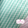 ผ้าคอตตอนไทย 100% 1/4ม.(50x55ซม.) ลายทางแบบหยัก สีเขียวพาสเทลสลับสีขาว
