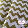ผ้าคอตตอนไทย 100% 1/4 ม.(50x55ซม.) ลายทางแบบหยัก สีเขียวขาว