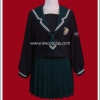 ชุดนักเรียนญี่ปุ่นธีมบ้านสลิธิรินแขนยาวสีดำ ปกกะลาสี/กระโปรงสีเขียว พร้อมถุงเท้าระดับเข่าสีดำ