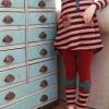 เสื้อผ้าเด็กขายส่งยกแพ็ค กางเกงเลคกิ้ง สีแดงเลือดหมู มีโบว์ ต่อขาลายขวางสุดเก๋ แพ็ค 5 ตัว ไซด์ 7-15