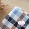 ผ้าคอตตอนลินิน 1/4ม.(50x55ซม.) ลายตาราง โทนสีน้ำตาล