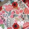 ผ้าคอตตอนลินิน 100% 1/4 เมตร(50x55cm.) โทนสีขาว ลายblossom