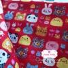 ผ้าคอตตอนไทย 100% 1/4ม. (50x55ซม.) พื้นสีแดง ลายตุ๊กตาน่ารัก