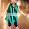 เสื้อผ้าเด็กขายส่งยกแพ็ค เสื้อเด็กผู้หญิงน่ารัก สีเขียวลายทาง แพ็ค 5 ตัว ไซด์ 5-13