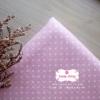 ผ้าคอตตอนลินิน 1/4ม.(50x55ซม.) พื้นสีชมพูอ่อน ลายจดเล็กสีขาว