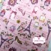 ผ้าคอตตอนไทย 100% 1/4 ม.(50x55ซม.) พื้นสีชมพู ลายวินเทจหอไอเฟล