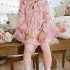 เสื้อผ้าเด็กขายส่งยกแพ็ค กางเกงเลคกิ้ง สีชมพู ต่อขาลูกไม้ แพ็ค 5 ตัว ไซด์ 100-140