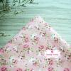 ผ้าคอตตอนไทย 100% 1/4 ม.(50x55ซม.) พื้นสีชมพู ลายดอกกุหลาบวินเทจ