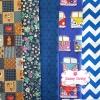 Set 5 ชิ้น : ผ้าคอตตอน 100% โทนสีน้ำเงิน 5 ลาย ชิ้นละ1/8 ม.(50x27.5ซม.)