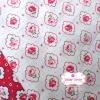 ผ้าคอตตอนไทย 100% 1/4 ม.(50x55ซม.) ลายดอกกุหลาบ พื้นสีขาว