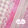 Set 6 ชิ้น : ผ้าคอตตอน100% โทนสีชมพู 5 ลายและผ้าแคนวาส ลายตาราง แต่ละชิ้นขนาด1/8 ม.(50x27.5ซม.)