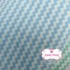 ผ้าคอตตอนไทย 100% 1/4ม.(50x55ซม.) ลายทางแบบหยัก สีฟ้าพาสเทลสลับสีขาว