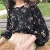 เสื้อแฟชั่นแขนยาว ผ้าชีฟอง ตัดเย็บแบบหลวมๆ สกรีนลายดอกไม้สีสวย