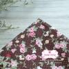 ผ้าคอตตอนไทย 100% 1/4 ม.(50x55ซม.) พื้นน้ำตาล ลายดอกไม้