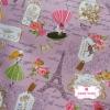 ผ้าคอตตอนลินิน 1/4ม.(50x55ซม.) พื้นสีชมพู ลายวินเทจ