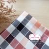 ผ้าคอตตอนลินิน 1/4ม.(50x55ซม.) ลายตาราง โทนสีแดงส้มอ่อน