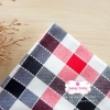 ผ้าคอตตอนลินิน 1/4ม.(50x55ซม.) ลายตาราง โทนสีแดง