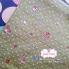 ผ้าคอตตอนไทย 100% 1/4 ม.(50x55ซม.)ลายน้องซู พื้นสีเขียว