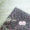 ผ้าคอตตอนไทย 100% 1/4 ม.(50x55ซม.) พื้นสีดำ ลายดอกไม้เล็ก