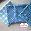 Set 4 ชิ้น : ผ้าคอตตอน100% โทนสีฟ้า 3 ลายและผ้าแคนวาส ลายตาราง แต่ละชิ้นขนาด1/8 ม.(50x27.5ซม.)