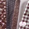 Set 5 ชิ้น : ผ้าคอตตอน 100% 4 ลาย และผ้าแคนวาสลายตารางโทนสีน้ำตาล ชิ้นละ1/8 ม.(50x27.5ซม.)