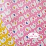 ผ้าคอตตอนไทย 100% 1/4ม.(50x55ซม.) พื้นสีชมพู ลายช้าง