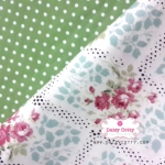 Set : ผ้าคอตตอนไทยลายดอกไม้+ผ้าคอตตอนไทยลายจุด โทนสีเขียว
