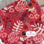 ผ้าคอตตอนลินิน 100% 1/4 เมตร(50x55cm.) โทนสีแดง ลายblossom
