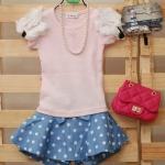 เสื้อยืดสีชมพูประดับระบายดอกไม้[Korea]