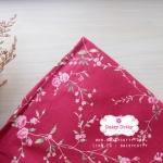 ผ้าคอตตอนไทย 100% 1/4ม.(50x55ซม.) พื้นสีแดง ลายเครือดอกไม้