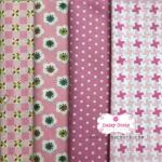 Set 4ชิ้น : ผ้าคอตตอนไทยโทนสีชมพู 4 ลาย