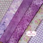 Set 6 ชิ้น : ผ้าคอตตอน 100% 6 ลาย โทนสีม่วง ชิ้นละ1/8 ม.(50x27.5ซม.)
