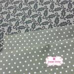 Set : ผ้าคอตตอนญี่ปุ่นลายใบไม้+ผ้าคอตตอนไทยลายจุด