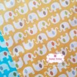 ผ้าคอตตอนไทย 100% 1/4ม.(50x55ซม.) พื้นสีเหลือง ลายช้าง
