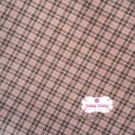 ผ้าทอญี่ปุ่น 1/4เมตร ลายตารางสีชมพูตัดเส้นสีเทาดำ