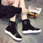 *Pre Order* สินค้านำเข้า/รองเท้าบู๊ทส์ผ้ายืด/แฟชั่นสไตล์เกาหลี size 35-39 สีดำ