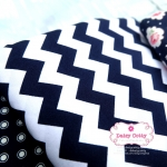 ผ้าคอตตอนไทย 100% 1/4 ม.(50x55ซม.)ลายทางแบบหยัก สีกรมท่าสลับสีขาว